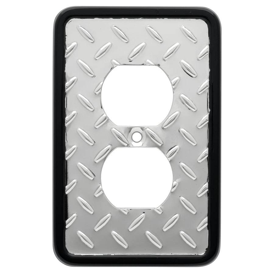 Brainerd 1-Gang Polished Chrome And Black Single Round Wall Plate