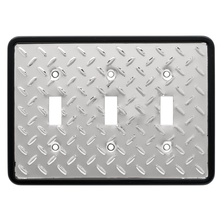 Brainerd 3-Gang Polished Chrome and Black Toggle Wall Plate