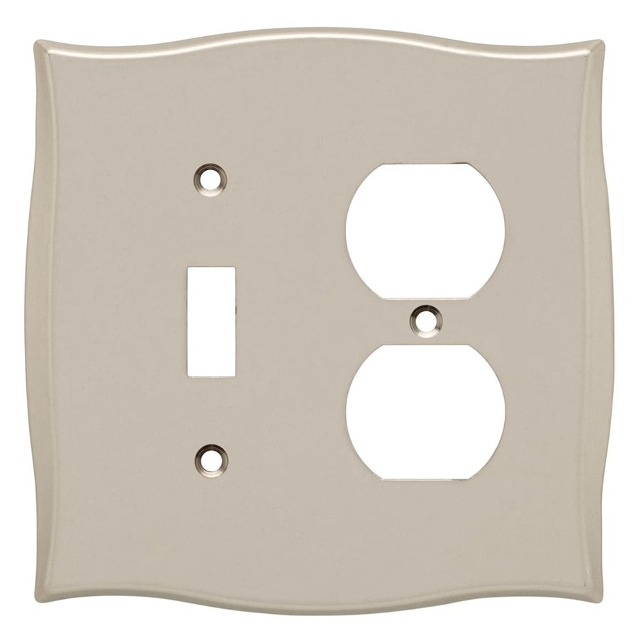 Brainerd 2-Gang Vintage Nickel Combination Metal Wall Plate