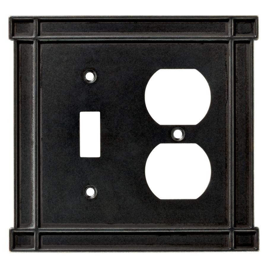 Brainerd 2-Gang Soft Iron Combination Metal Wall Plate