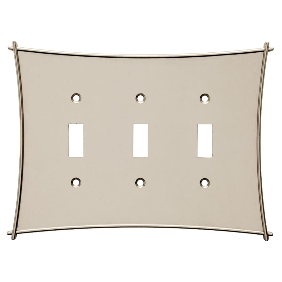 Brainerd 3-Gang Vintage Nickel Standard Toggle Metal Wall Plate