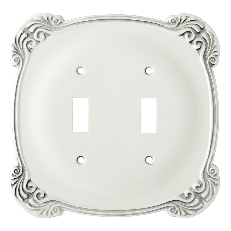 Brainerd Arboresque 2-Gang White Antique Double Toggle Wall Plate