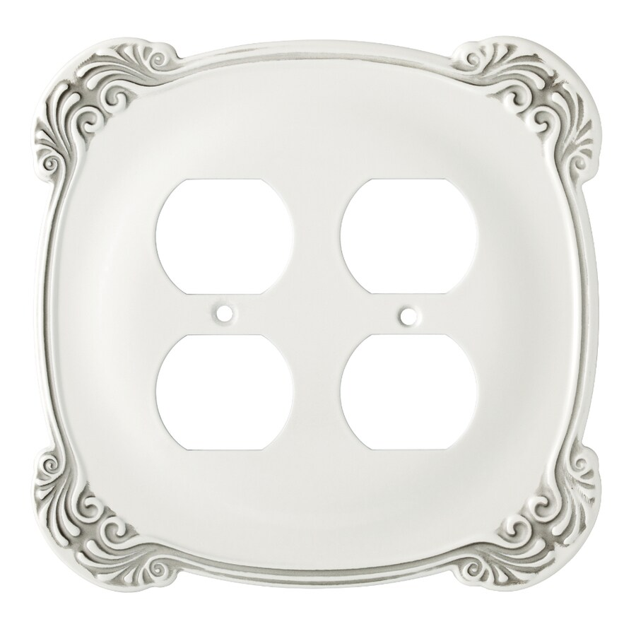 Brainerd 2-Gang White Antique Standard Duplex Receptacle Metal Wall Plate