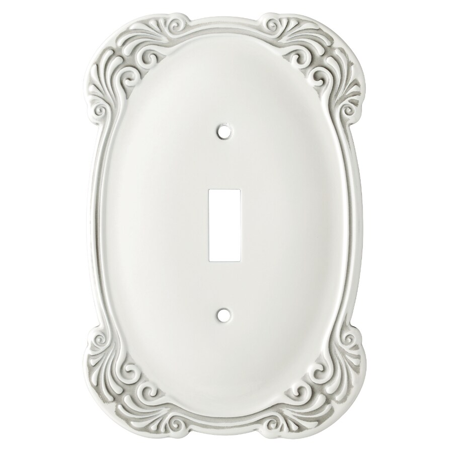 Brainerd Arboresque 1-Gang White Antique Single Toggle Wall Plate