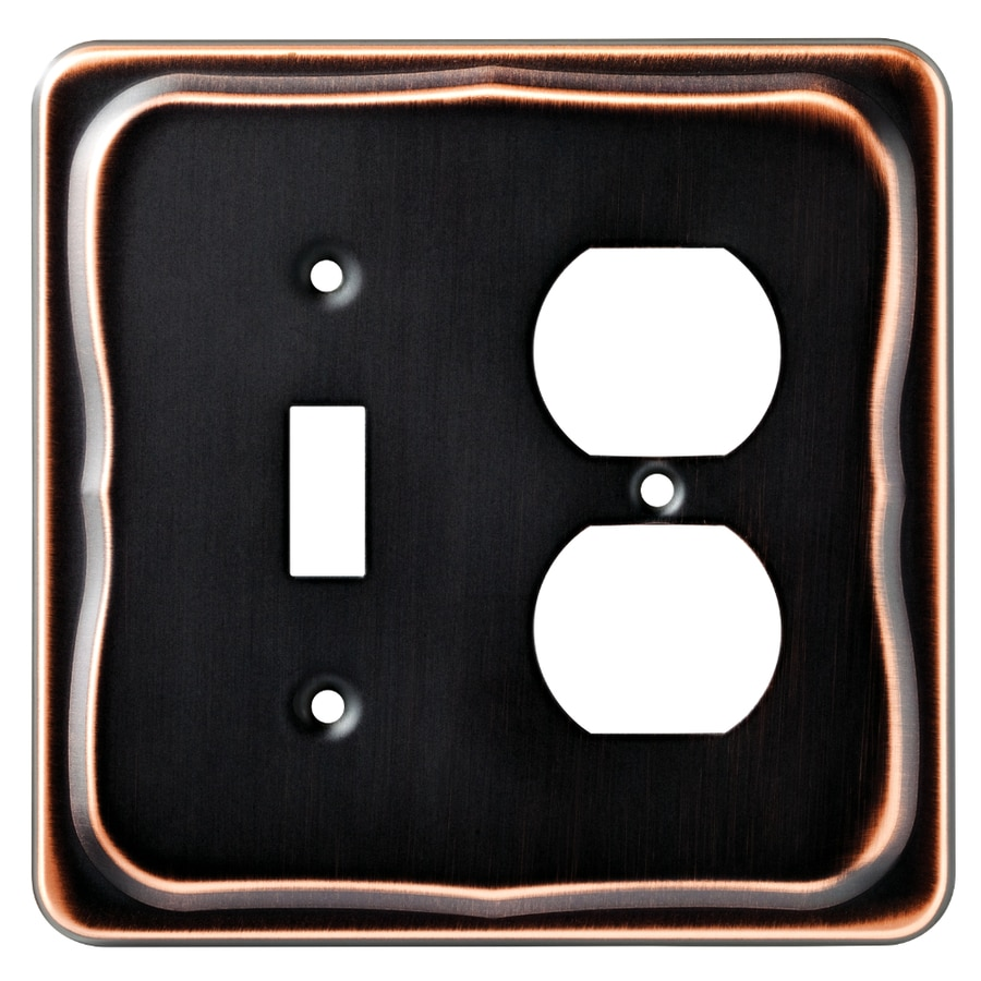 Brainerd Tenley 2-Gang Bronze with Copper Highlights Single Toggle/Duplex Wall Plate