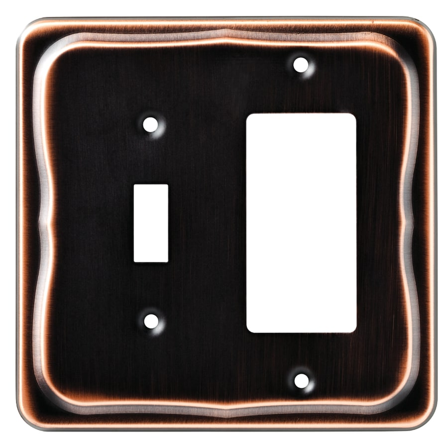 Brainerd Tenley 2-Gang Bronze with Copper Highlights Single Toggle/Decorator Wall Plate