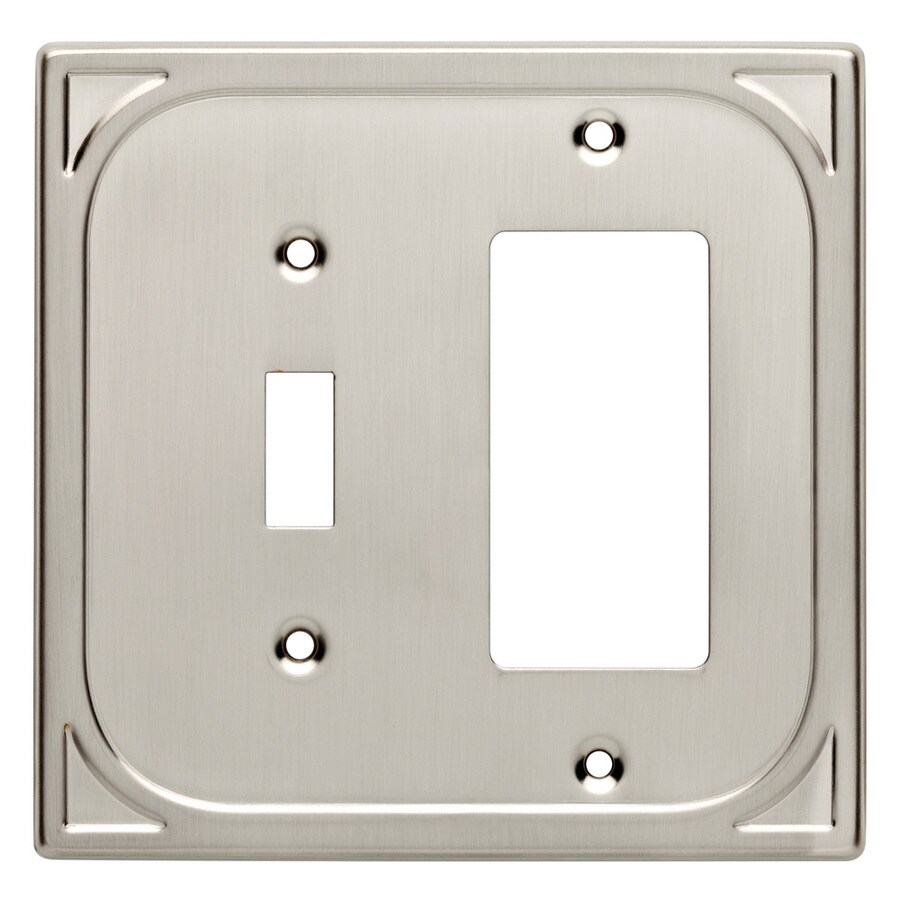 Brainerd 2-Gang Satin Nickel Combination Metal Wall Plate