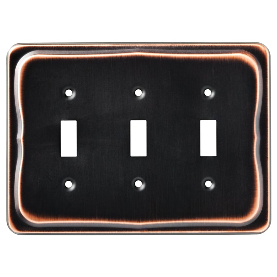 Brainerd Tenley 3-Gang Bronze with Copper Highlights Triple Toggle Wall Plate