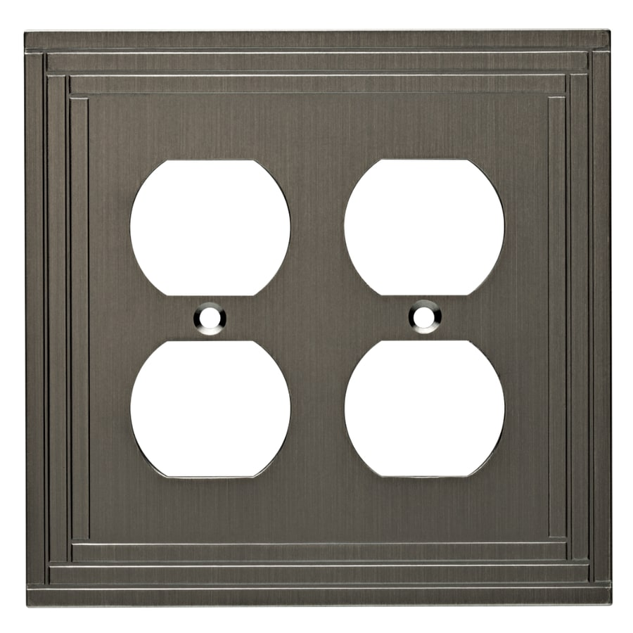 allen + roth Lexington 2-Gang Brushed Nickel Standard Duplex Receptacle Metal Wall Plate