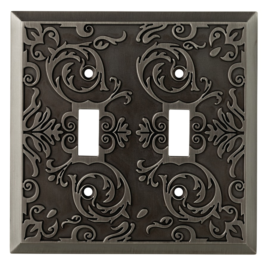 allen + roth Fairhope 2-Gang Antique Pewter Double Toggle Wall Plate