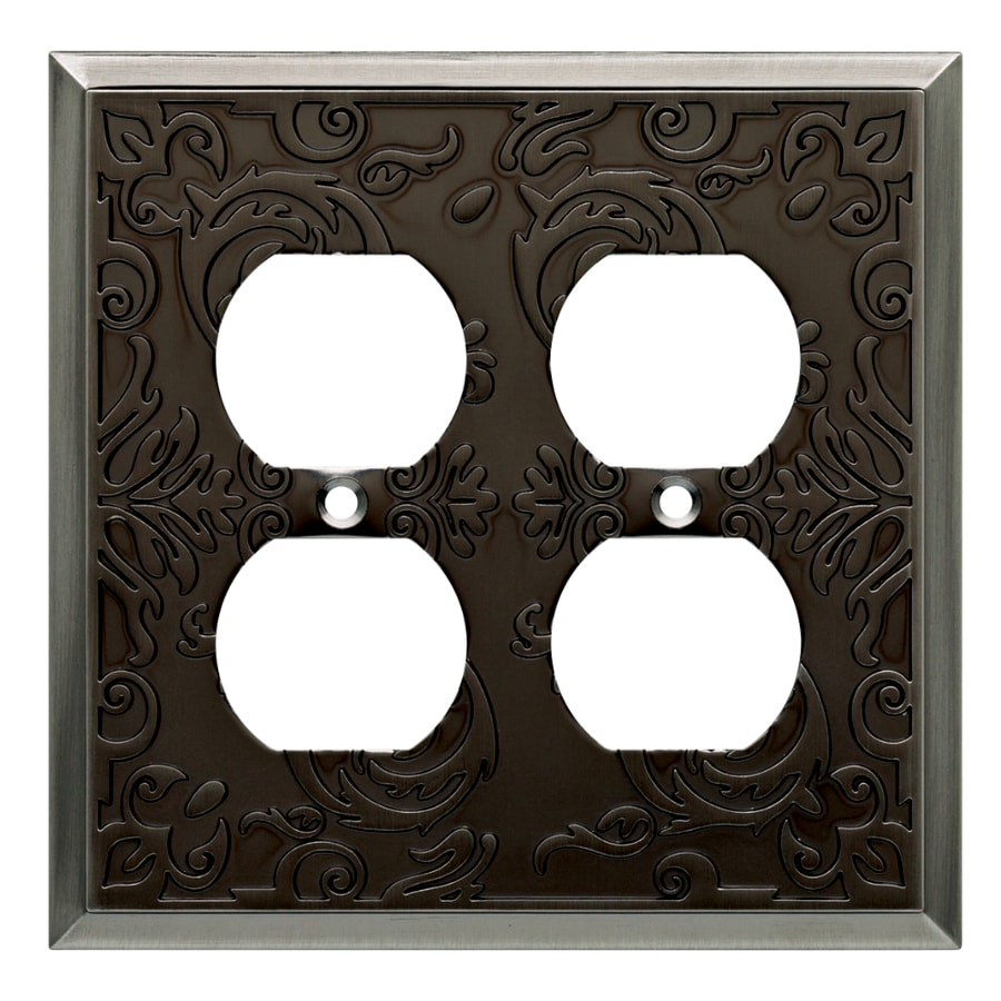 allen + roth Fairhope 2-Gang Brushed Pewter Standard Duplex Receptacle Metal Wall Plate