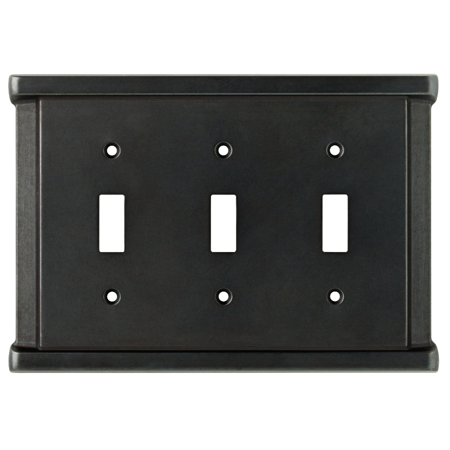 Brainerd Landen 3-Gang Soft Iron Toggle Wall Plate