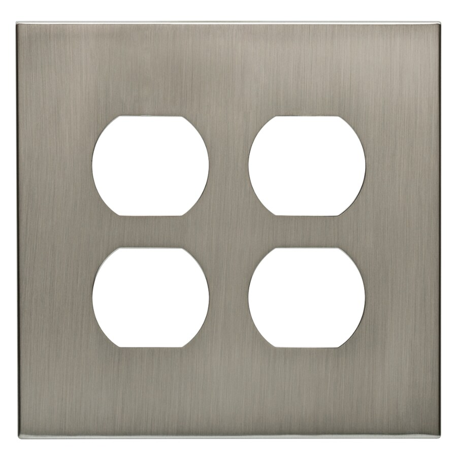 allen + roth Linden 2-Gang Satin Nickel Round Wall Plate