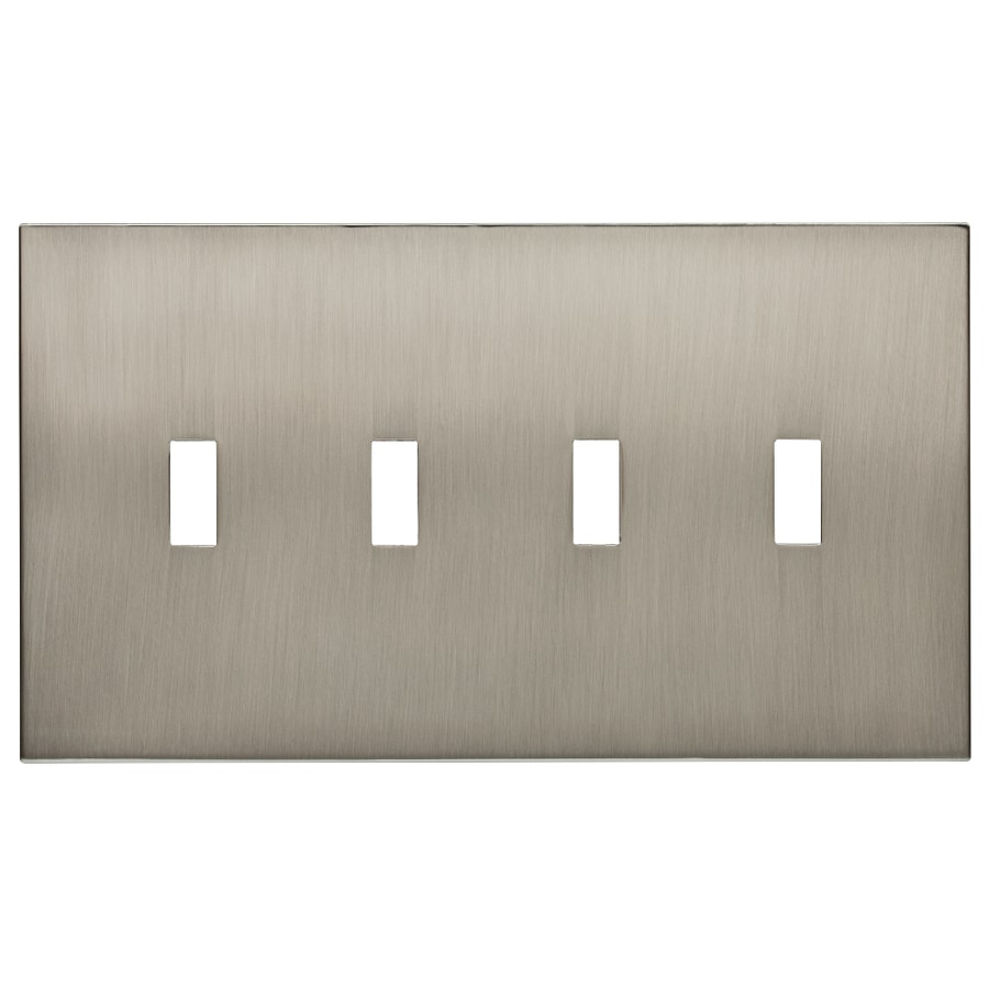 allen + roth Linden 4-Gang Satin Nickel Toggle Wall Plate