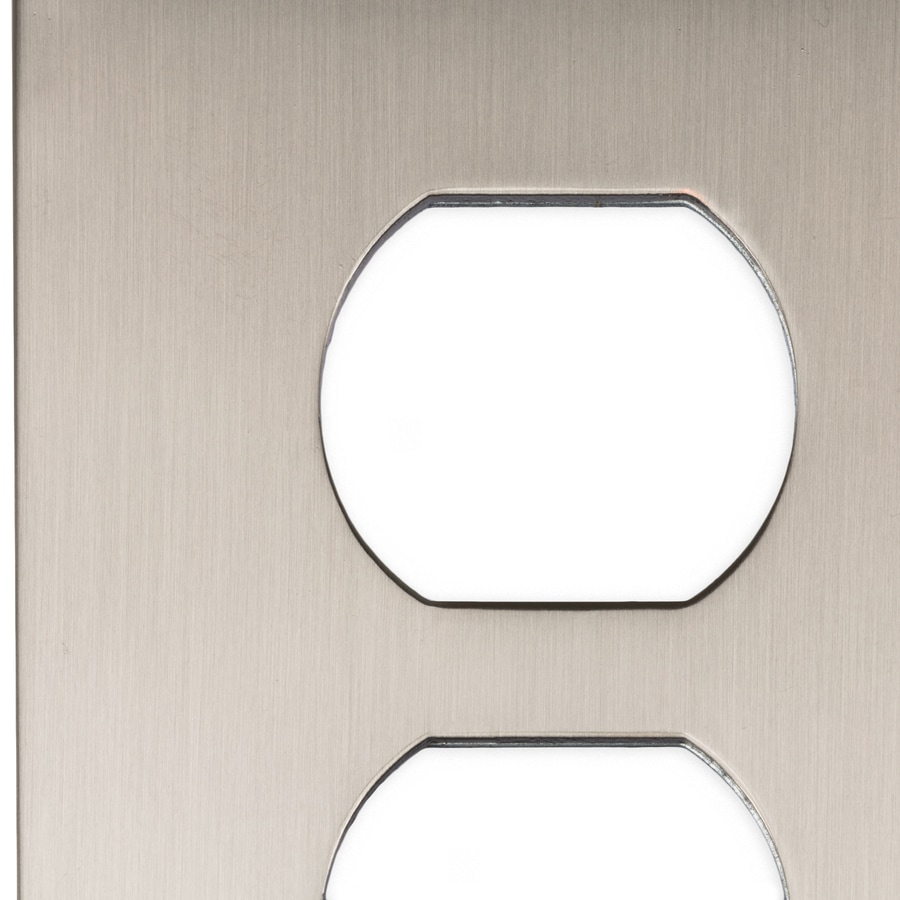 allen + roth Linden 1-Gang Satin Nickel Round Wall Plate