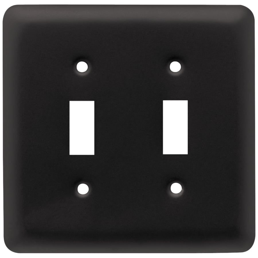 Style Selections Stamped Round 3-Gang Flat Black Triple Toggle Wall Plate