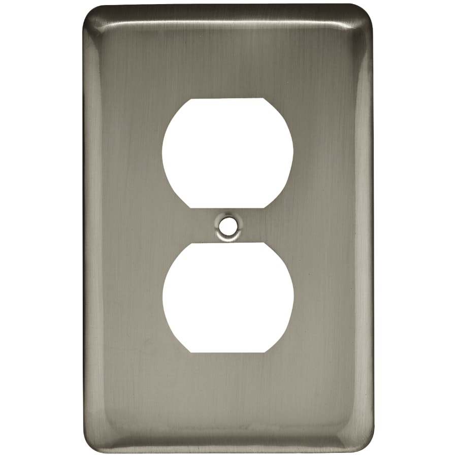 Style Selections Stamped Round 1-Gang Satin Nickel Single Duplex Wall Plate