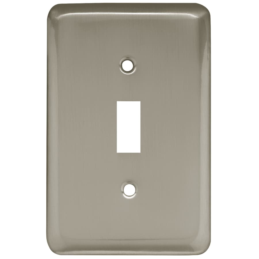 Style Selections Stamped Round 1-Gang Satin Nickel Single Toggle Wall Plate