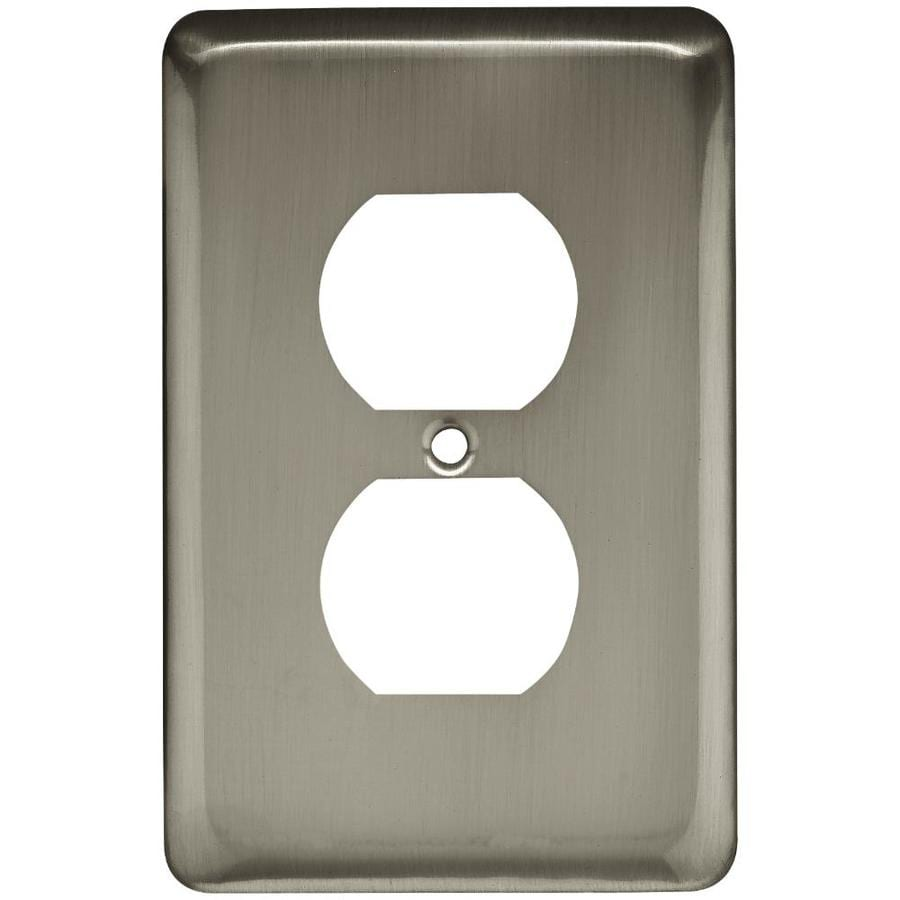 Style Selections Stamped Round 6-Pack 1-Gang Satin Nickel Single Duplex Wall Plates