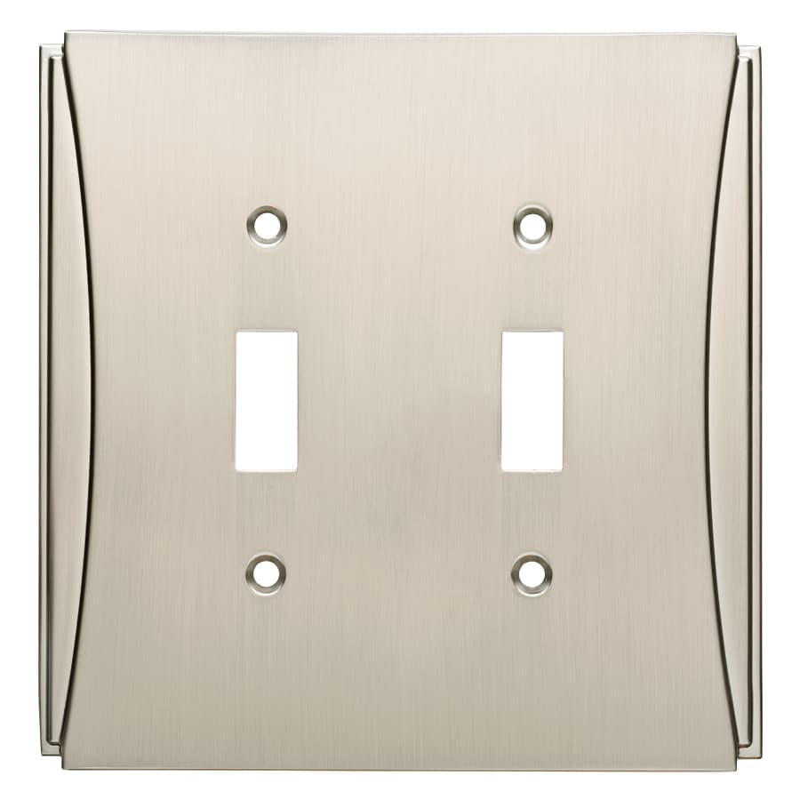 Brainerd Upton 2-Gang Satin Nickel Double Toggle Wall Plate
