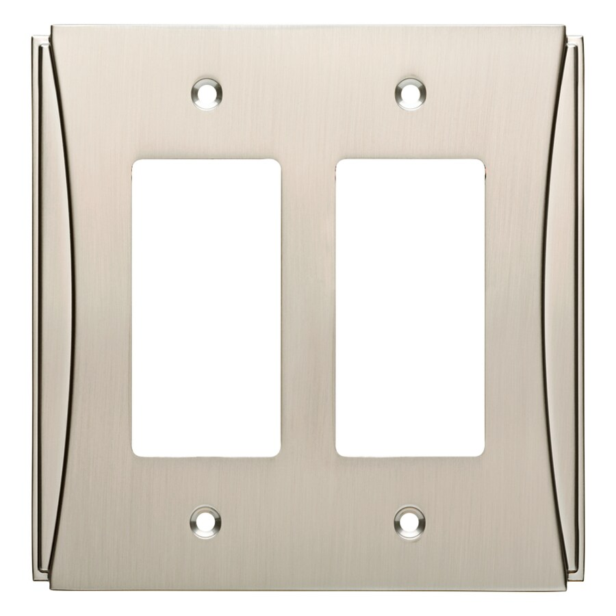 Brainerd Upton 2-Gang Satin Nickel Double Decorator Wall Plate