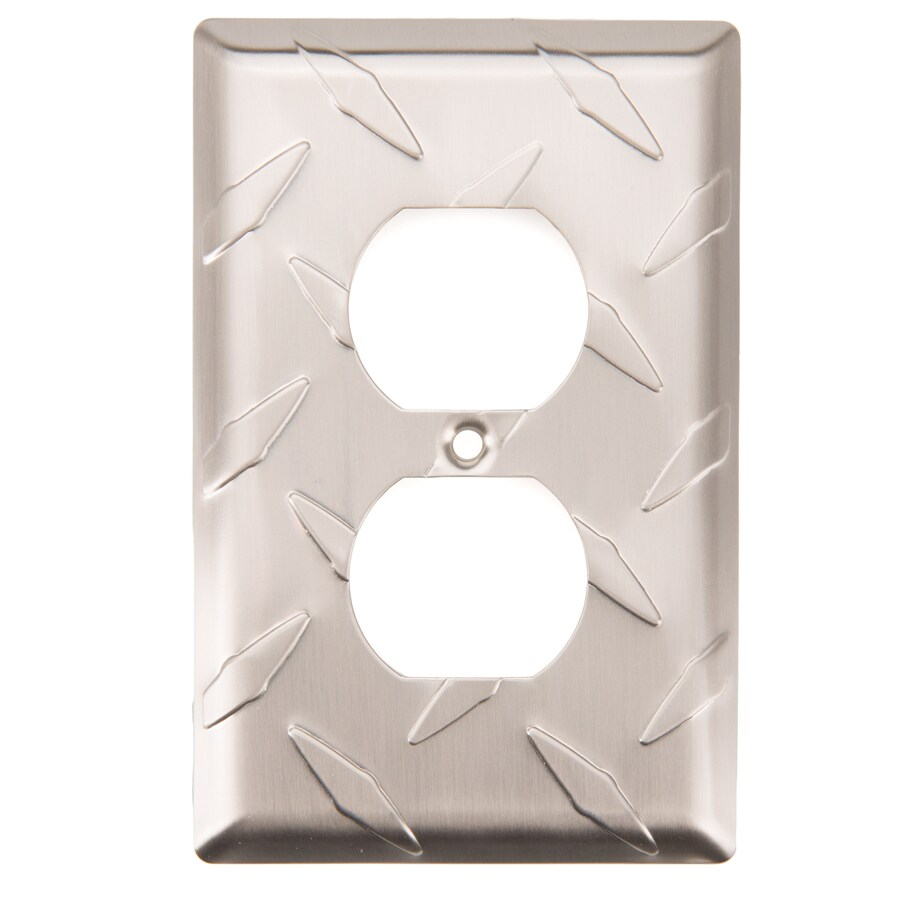 Brainerd Diamond Plate 1-Gang Satin Nickel Single Duplex Wall Plate