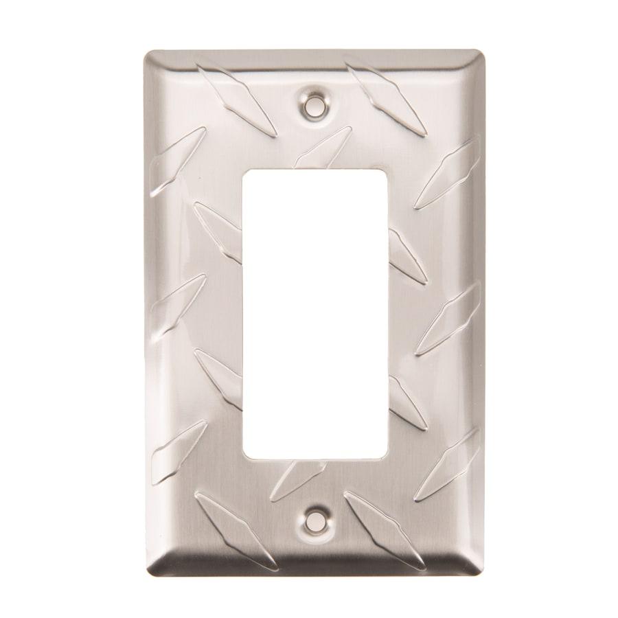 Brainerd Diamond Plate 1-Gang Satin Nickel Single Decorator Wall Plate