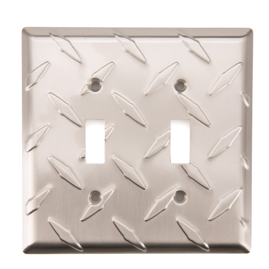 Brainerd Diamond Plate 2-Gang Satin Nickel Double Toggle Wall Plate
