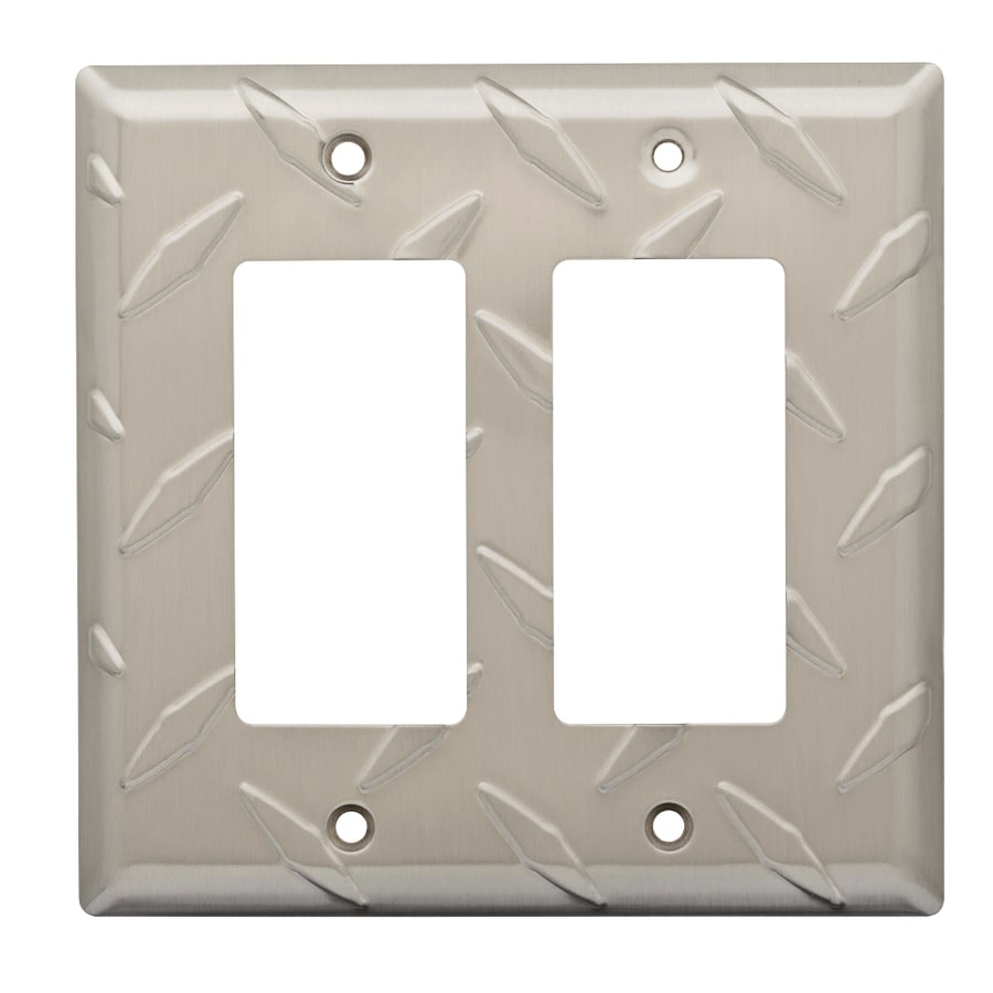 Brainerd Diamond Plate 2-Gang Satin Nickel Double Decorator Wall Plate