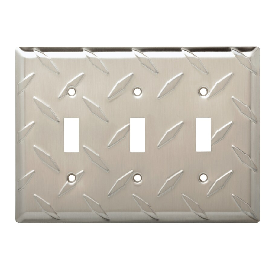 Brainerd Diamond Plate 3-Gang Satin Nickel Triple Toggle Wall Plate