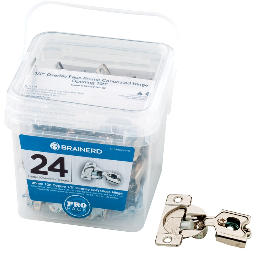 Brainerd 25 Pack Nickel Plated Concealed Soft Close Cabinet Hinges