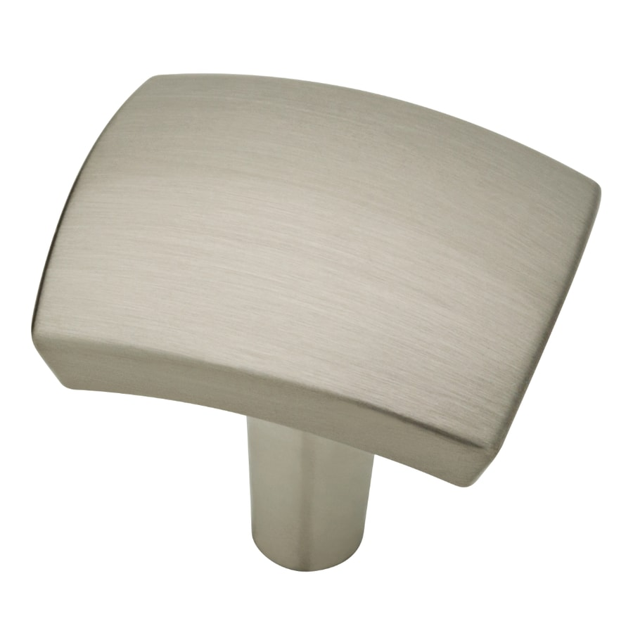 Shop brainerd caroline collection satin nickel square for Square kitchen cabinet knobs