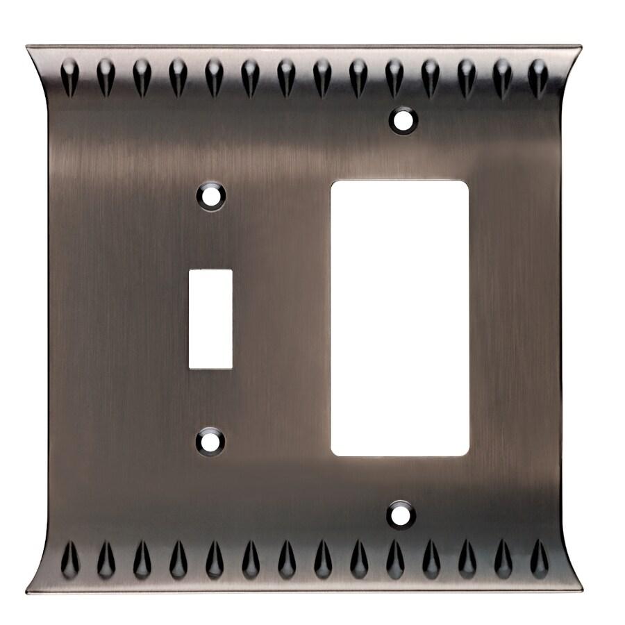 Brainerd Wadsworth 2-Gang Heirloom Silver Single Toggle/Decorator Wall Plate