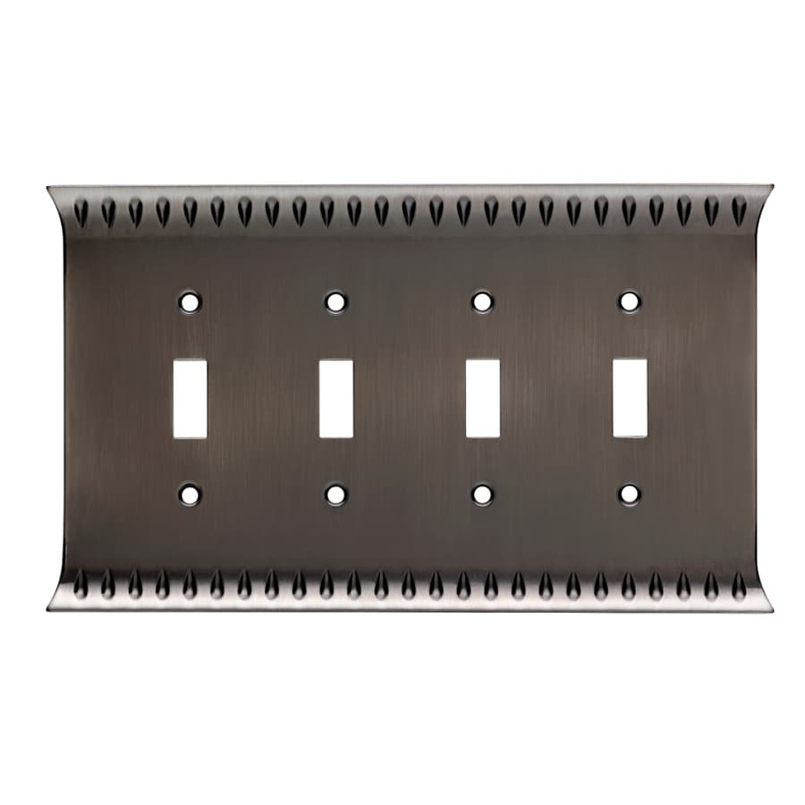 Brainerd Wadsworth 4-Gang Heirloom Silver Quad Toggle Wall Plate