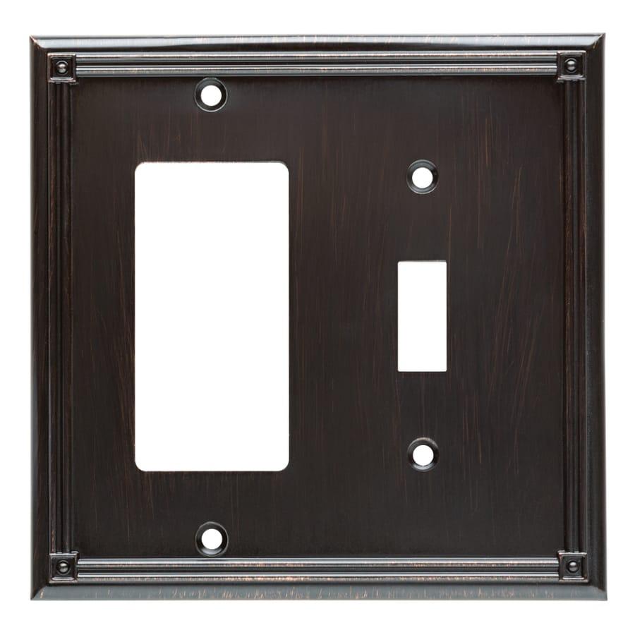 Brainerd Ruston 2-Gang Venetian Bronze Single Toggle/Decorator Wall Plate
