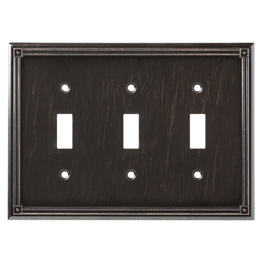 Brainerd Ruston 3-Gang Venetian Bronze Triple Toggle Wall Plate