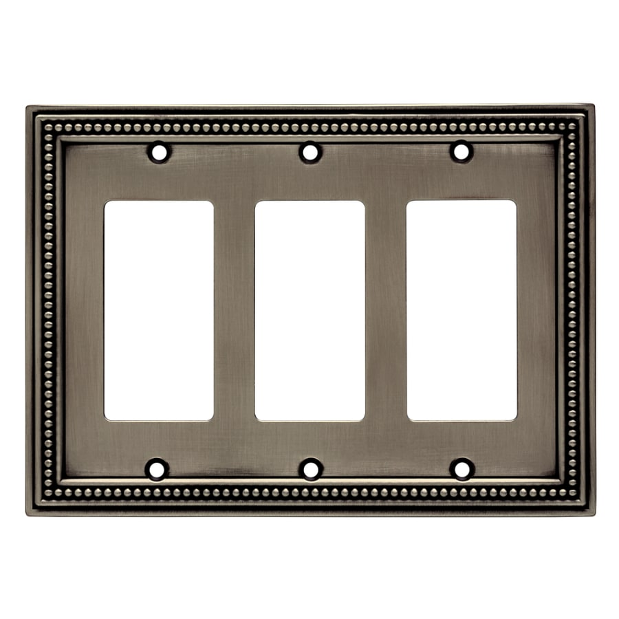 Brainerd Beaded 3-Gang Brushed Satin Pewter Triple Decorator Wall Plate