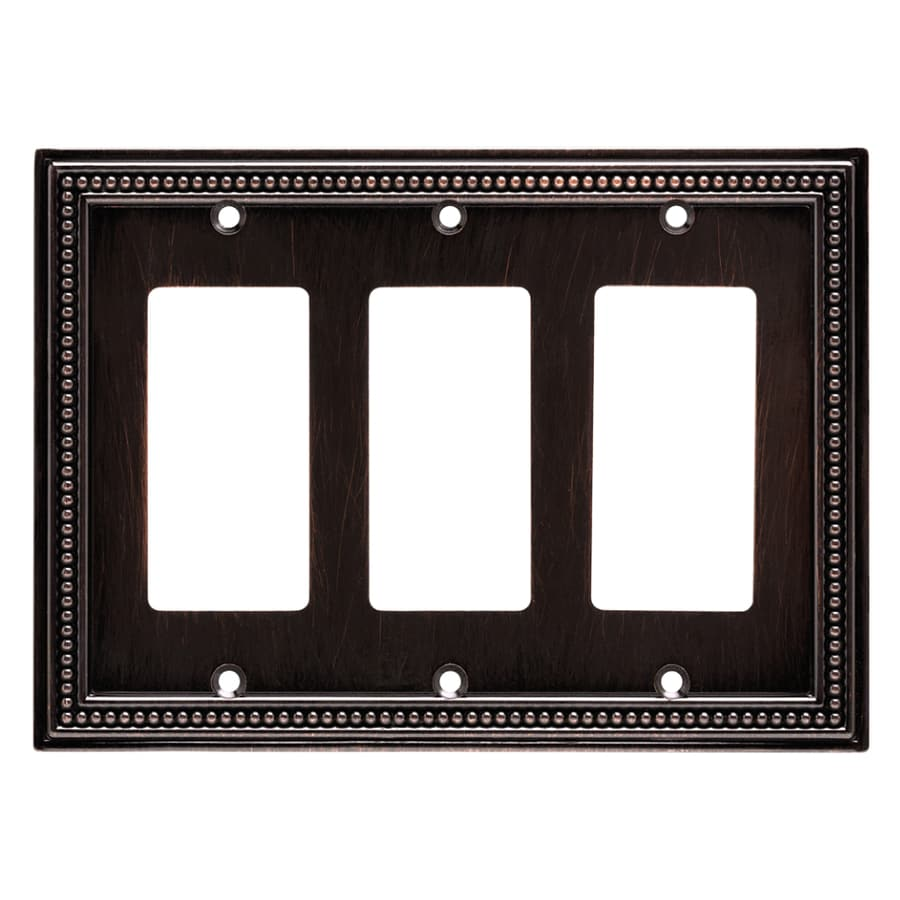 Brainerd Beaded 3-Gang Venetian Bronze Triple Decorator Wall Plate