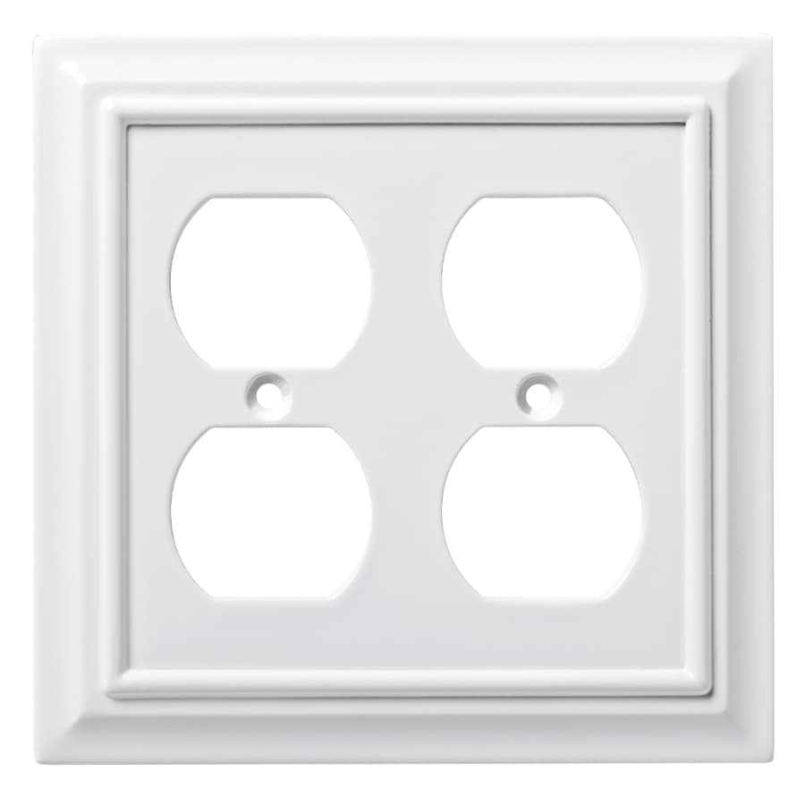 Brainerd Wood Architectural 2-Gang Pure White Double Duplex Wall Plate