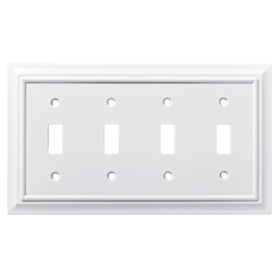 Brainerd Architectural 4-Gang Pure White Quad Toggle Wall Plate