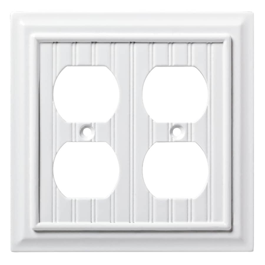 Brainerd Beadboard 2-Gang Pure White Double Duplex Wall Plate