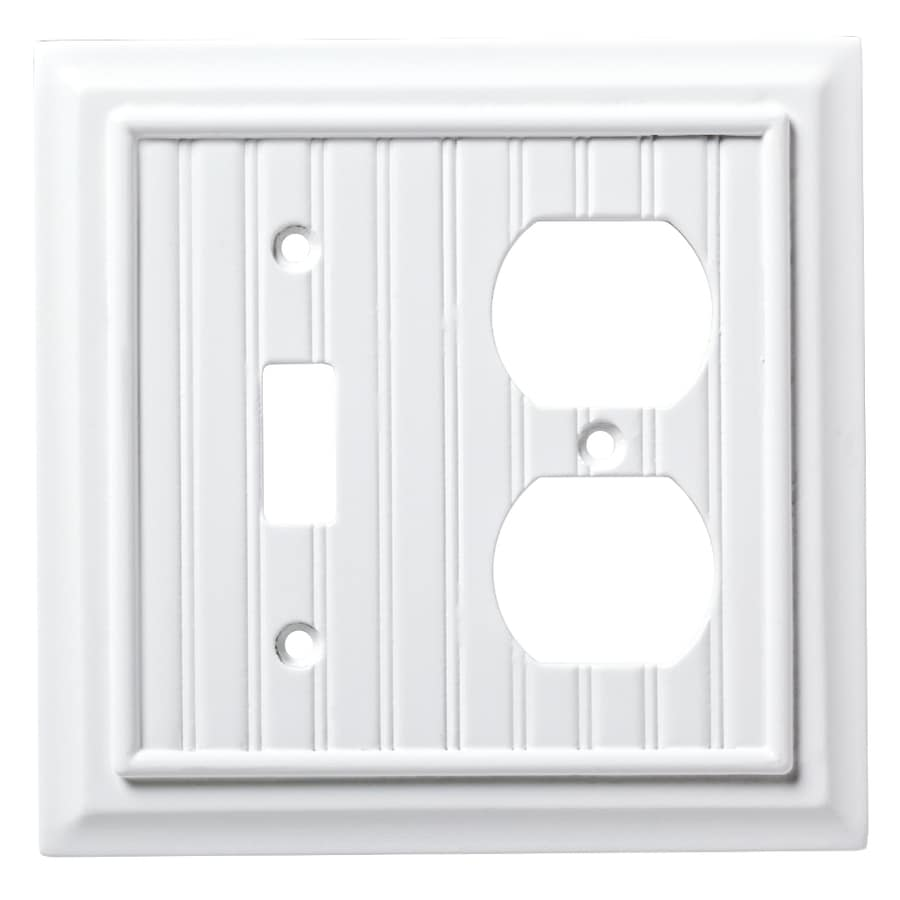 Brainerd Beadboard 2-Gang Pure White Single Toggle/Duplex Wall Plate
