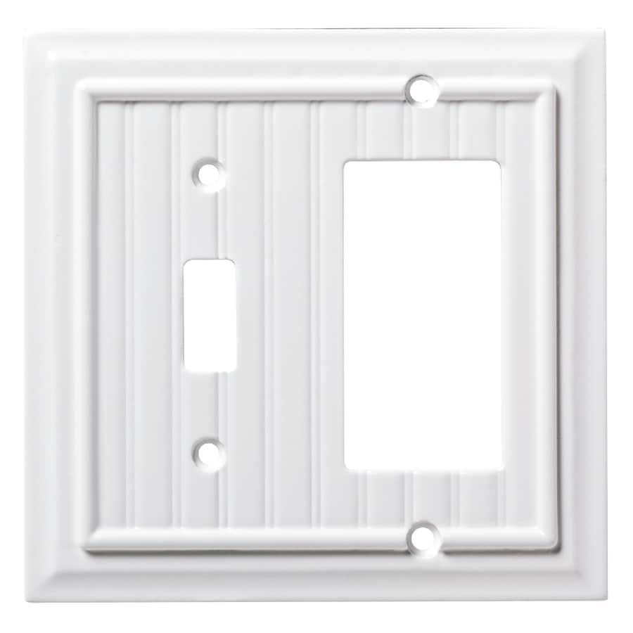Brainerd Beadboard 2-Gang Pure White Single Toggle/Decorator Wall Plate