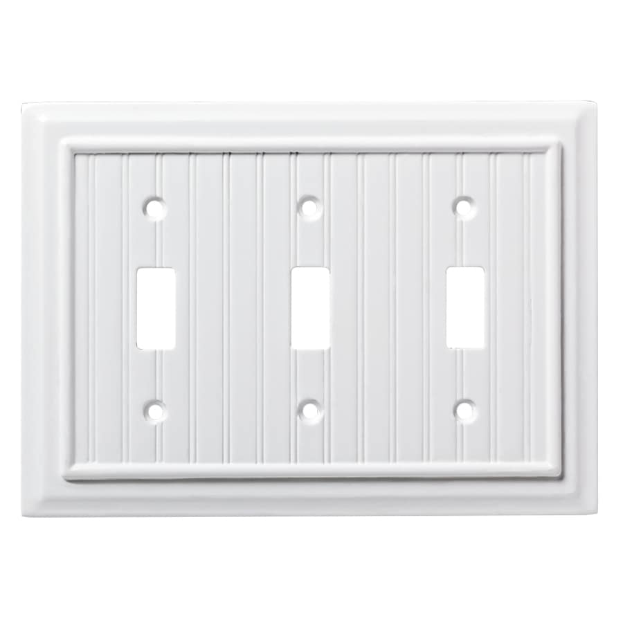 Brainerd Beadboard 3-Gang Pure White Triple Toggle Wall Plate