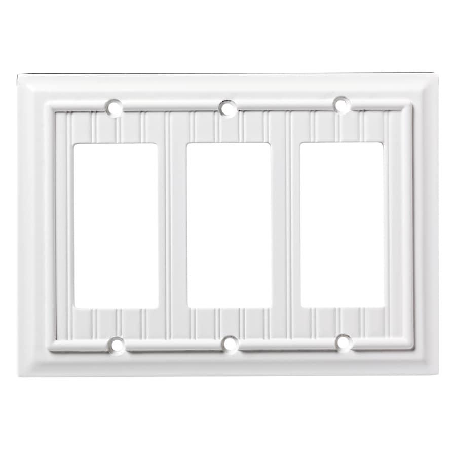 Brainerd Beadboard 3-Gang Pure White Triple Decorator Wall Plate