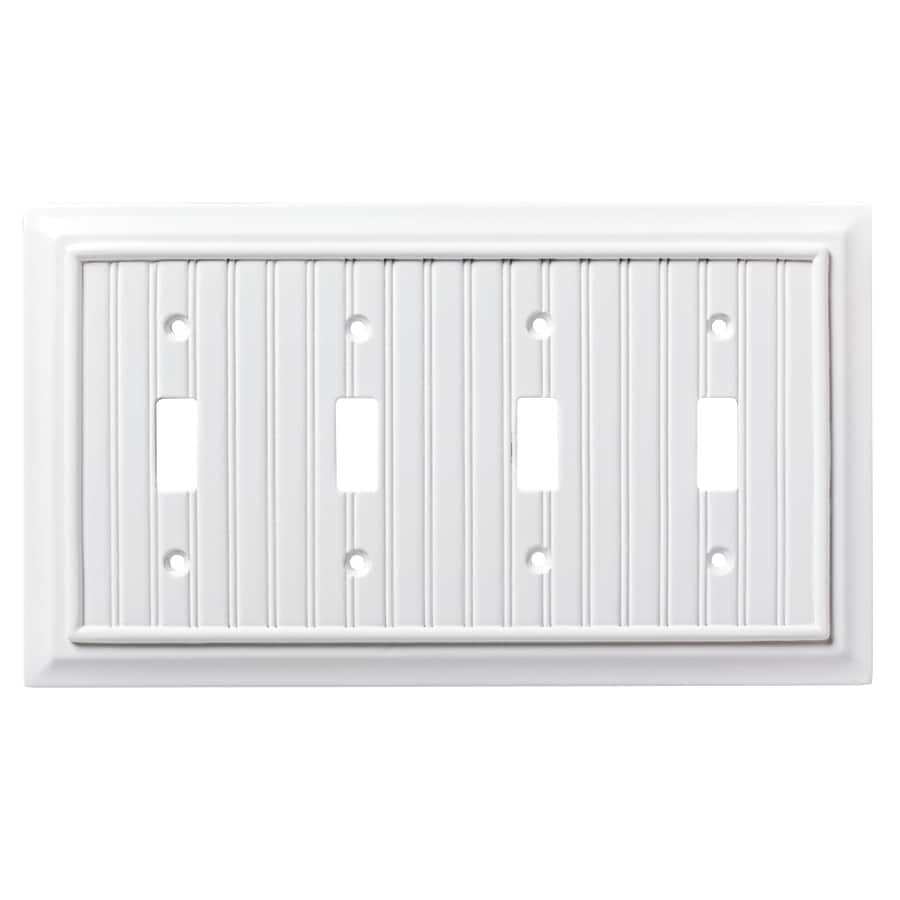Brainerd Beadboard 4-Gang Pure White Quad Toggle Wall Plate