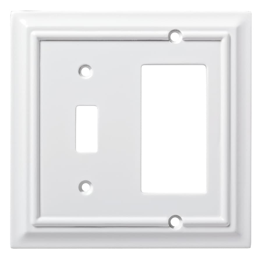 Brainerd Wood Architectural 2 Gang Pure White Single Toggle/Decorator Wall  Plate