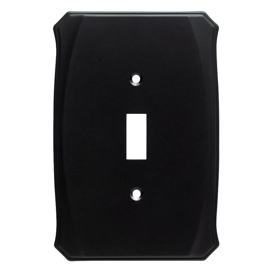 Brainerd Serene 1-Gang Flat Black Single Toggle Wall Plate