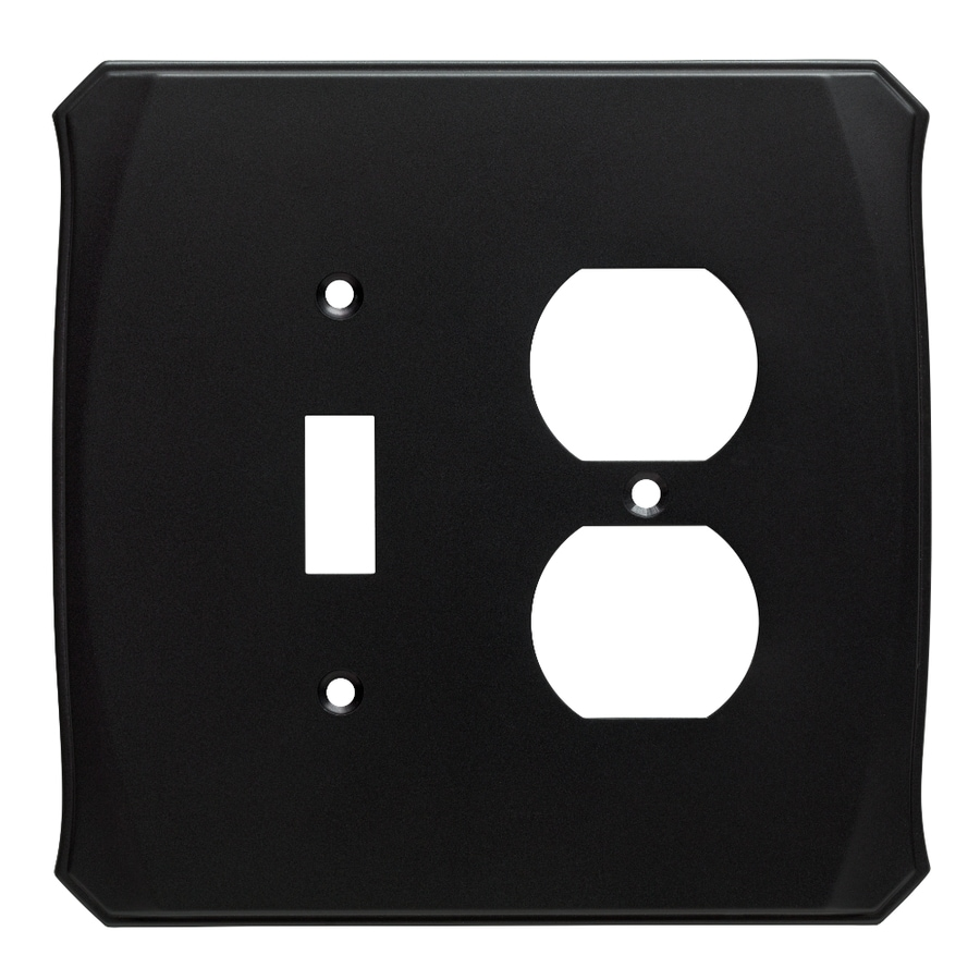 Brainerd Serene 2-Gang Flat Black Single Toggle/Duplex Wall Plate
