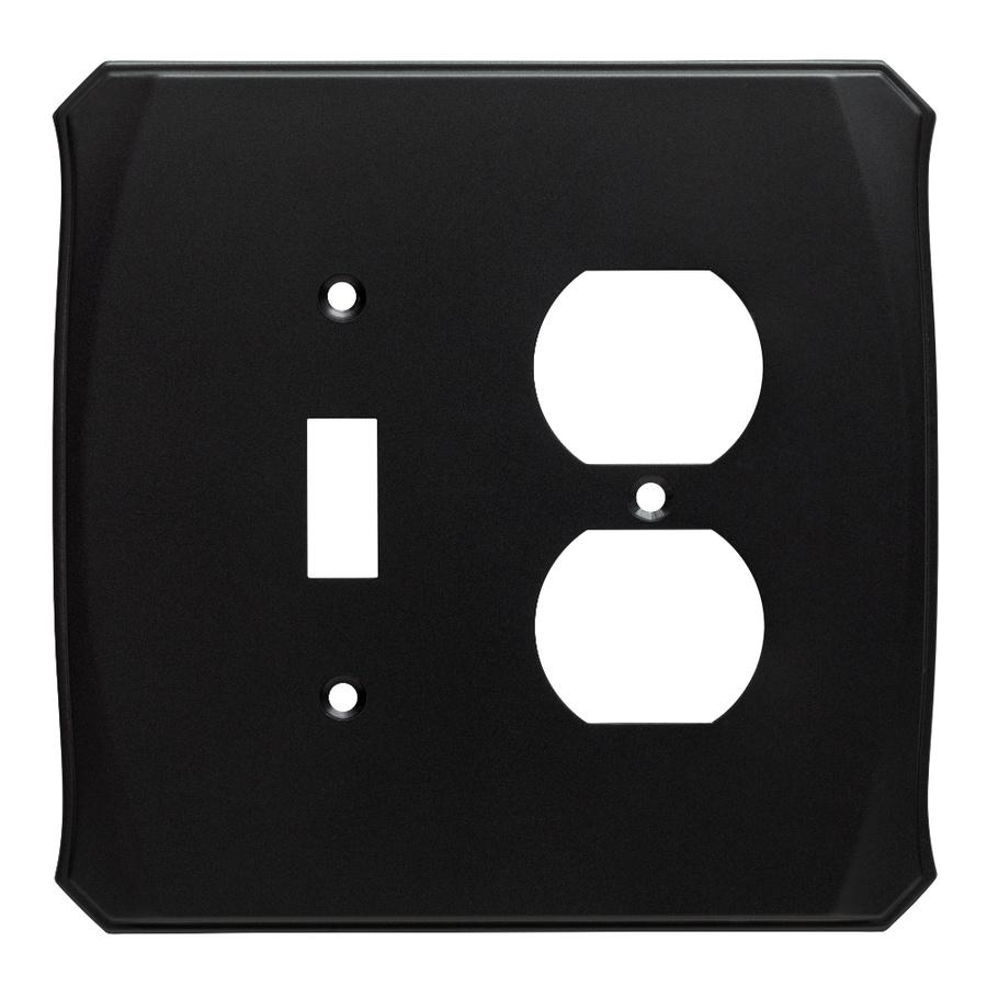Brainerd Serene 2-Gang Flat Black Single Toggle/Duplex Wall Plate